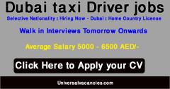 Dubai Taxi jobs 2021 in Dubai For Taxi Driver Walk In Interview
